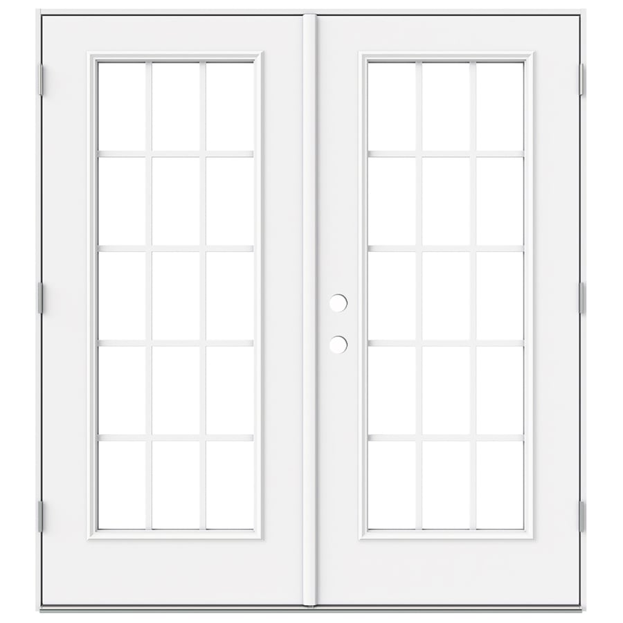 ReliaBilt 71.5-in x 78.625-in Grilles Between the Glass Left-Hand Outswing Steel French Patio Door