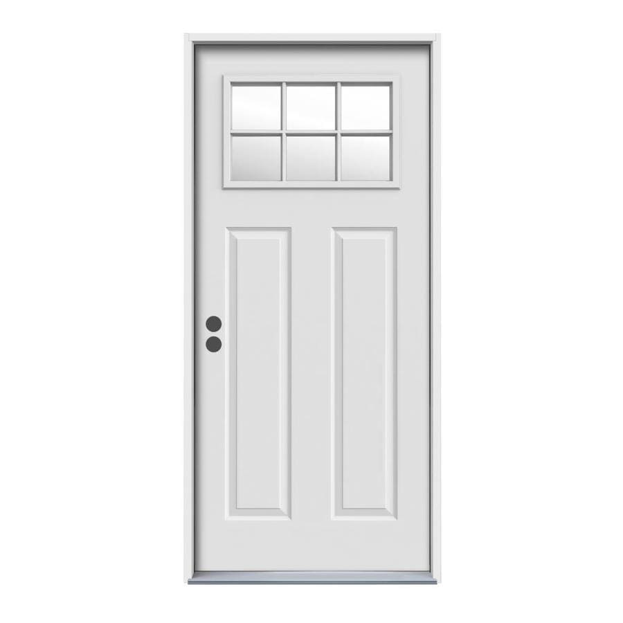 JELD-WEN Craftsman Insulating Core Craftsman 6-Lite Right-Hand Inswing Steel Primed Prehung Entry Door (Common: 36-in x 80-in; Actual: 37.5-in x 81.75-in)
