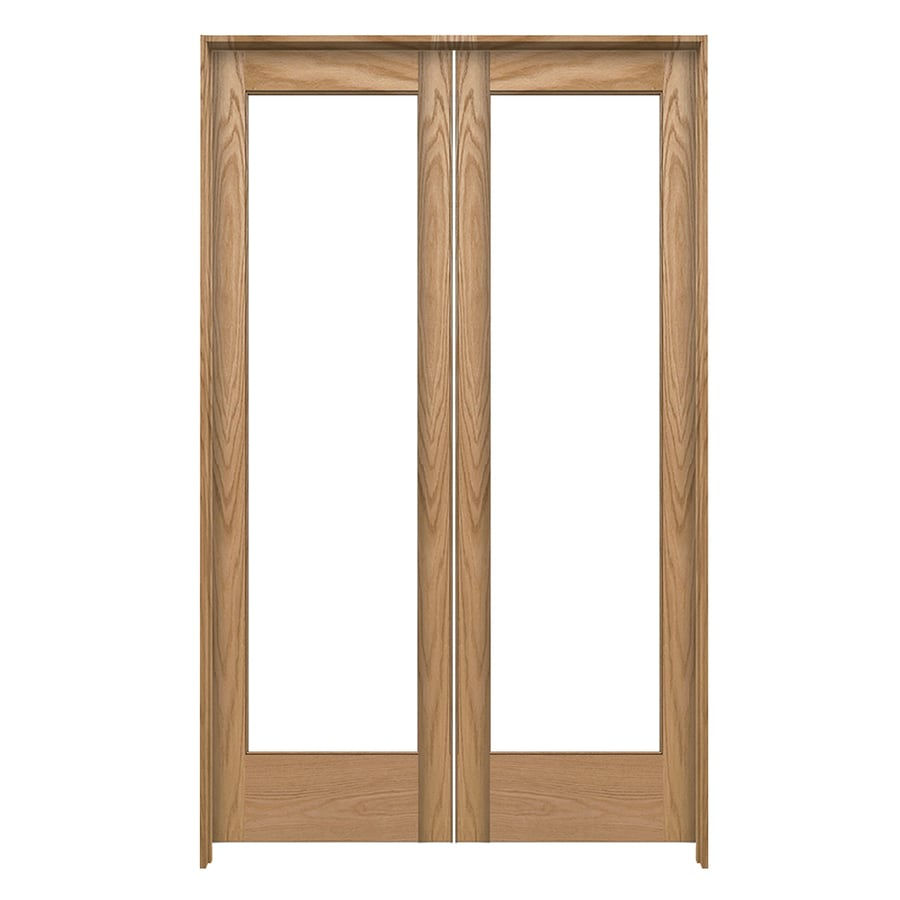 Shop jeld wen prehung solid core 1 lite oak french for 48 inch french doors