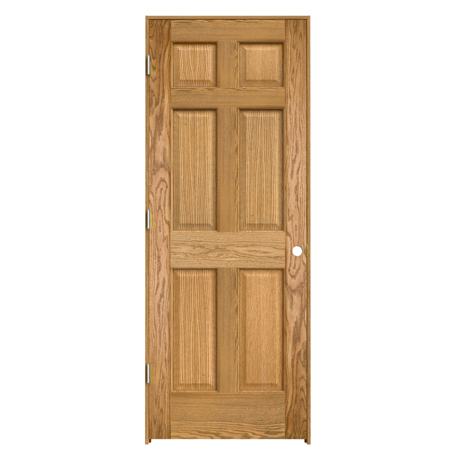 ReliaBilt Prehung Solid Core 6-Panel Oak Interior Door (Common: 24-in x 80-in; Actual: 25.563-in x 81.687-in)