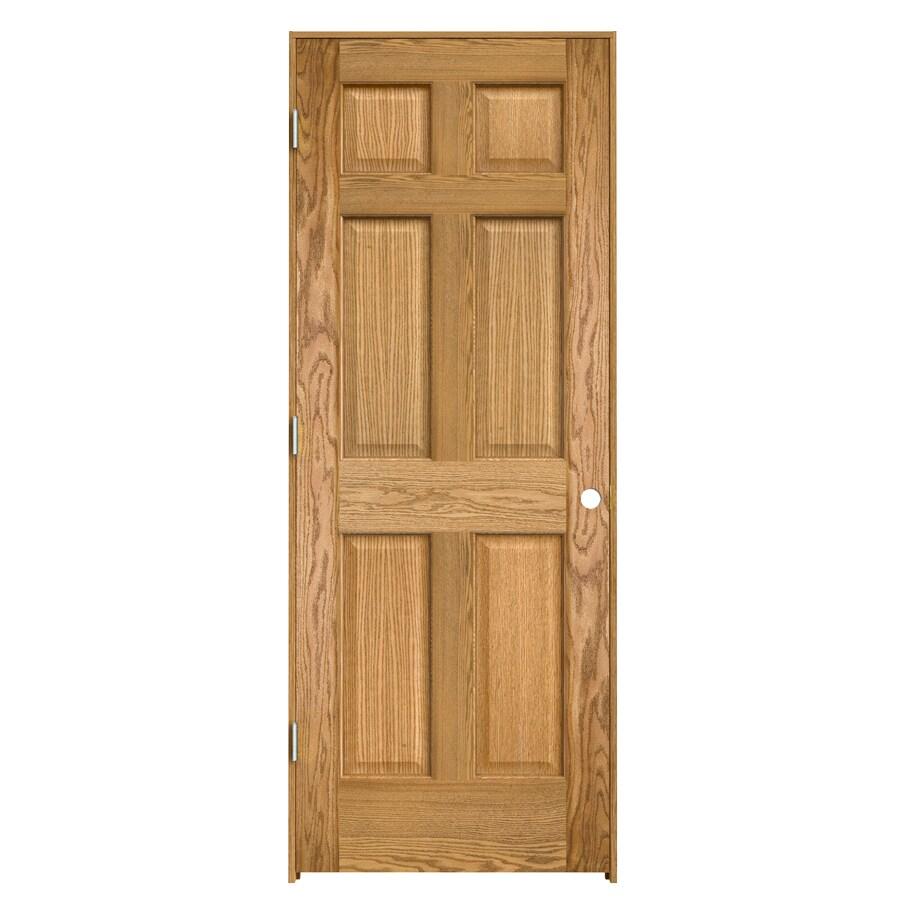 ReliaBilt 6-panel Oak Single Prehung Interior Door (Common: 28-in x 80-in; Actual: 29.563-in x 81.687-in)