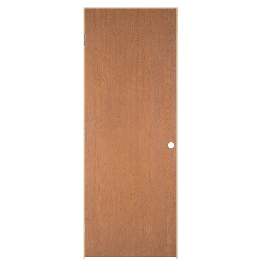 ReliaBilt Prehung Hollow Core Flush Oak Interior Door (Common: 36-in x 80-in; Actual: 37.562-in x 81.688-in)