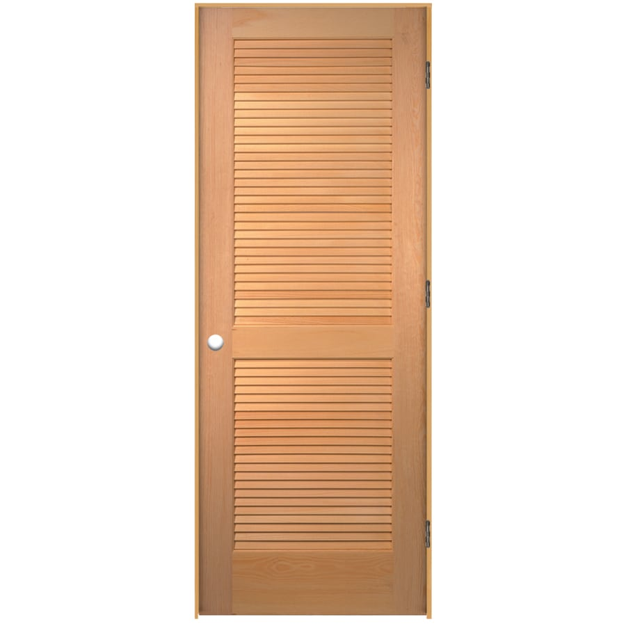 JELD-WEN (Unfinished) Prehung Solid Core Full Louver Pine Interior Door (Common: 24-in x 80-in; Actual: 25.563-in x 81.687-in)
