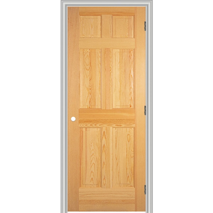 ReliaBilt Prehung Solid Core 6-Panel Pine Interior Door (Common: 32-in x 80-in; Actual: 33.562-in x 81.688-in)