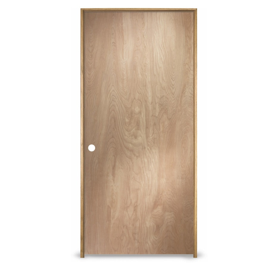 Shop Reliabilt Prehung Hollow Core Flush Birch Interior Door Common 32 In X 80 In Actual 33