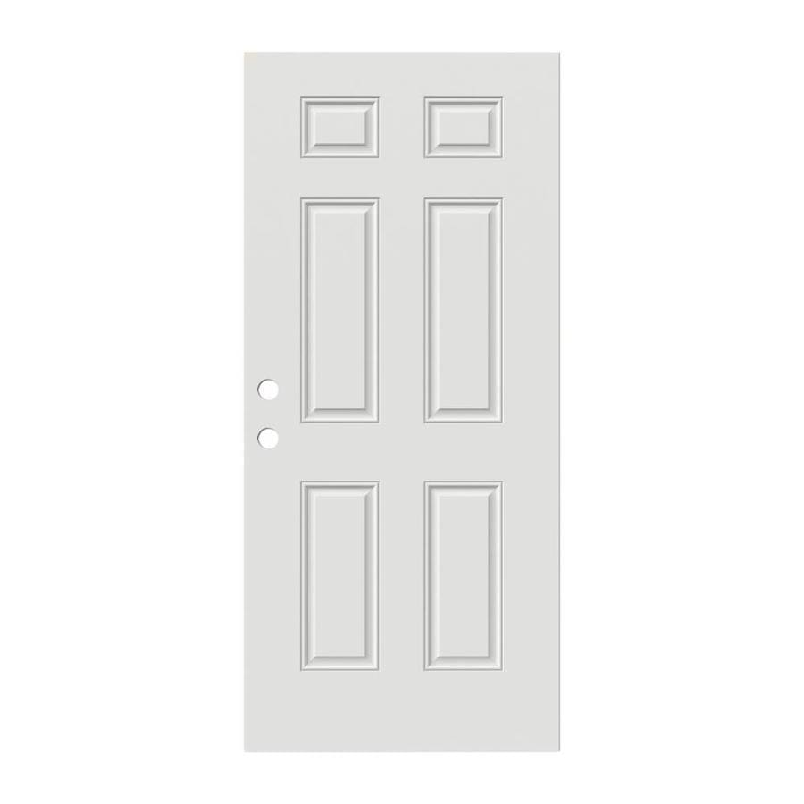 JELD-WEN Reversible Primed Steel Prehung Entry Door with Insulating Core (Common: 30-in x 80-in; Actual: 30-in x 80-in)