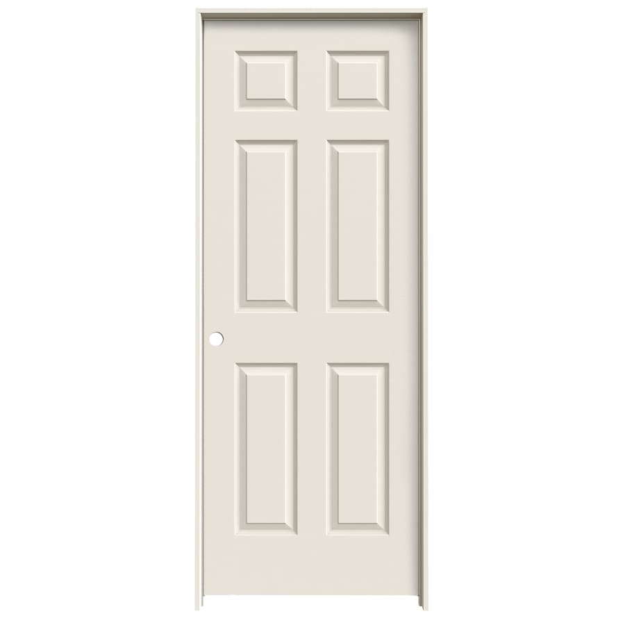 Reliabilt colonist primed 6 panel hollow core molded composite single prehung door common 30 for Lowes interior doors prehung