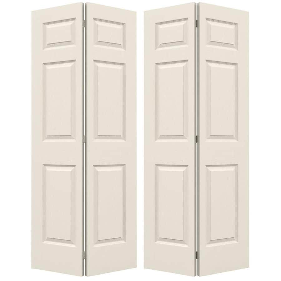 JELD-WEN Colonist Primed Hollow Core Molded Composite Bi-Fold Closet Interior Door with Hardware (Common: 60-in x 80-in; Actual: 59.5-in x 79-in)