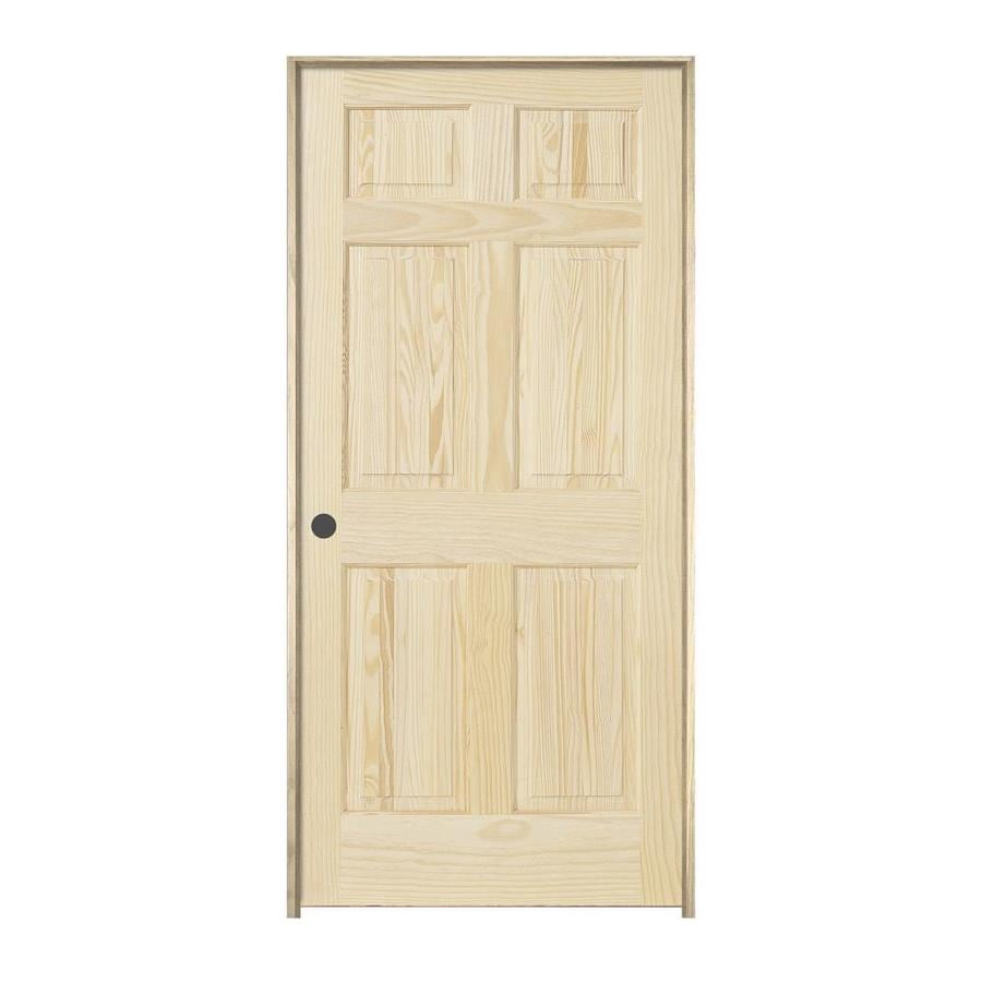 JELD-WEN Prehung Solid Core 6-Panel Pine Interior Door (Common: 24-in x 80-in; Actual: 25.562-in x 81.688-in)