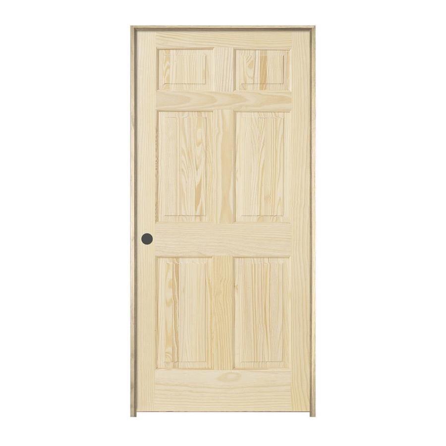 Superbe JELD WEN Authentic Wood Unfinished Wood 6 Panel Wood Pine Single Prehung  Door (