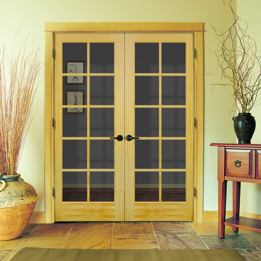 JELD WEN Authentic Wood Unfinished Wood Clear Glass Wood Pine Double  Prehung Door (Common