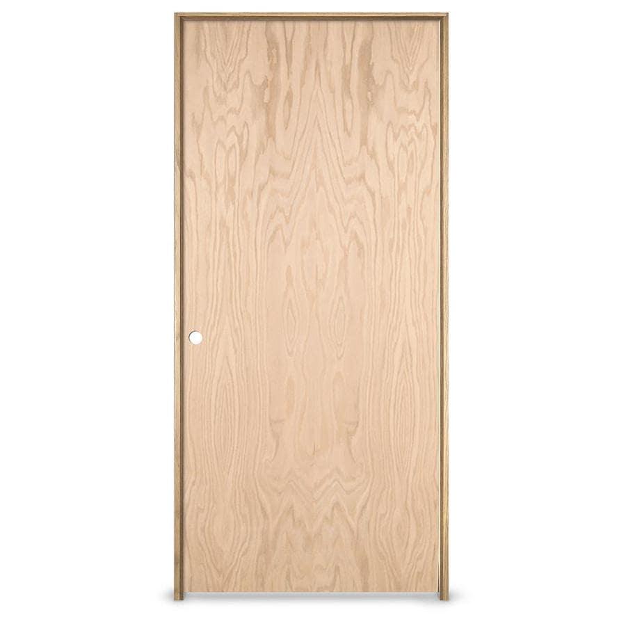 JELD-WEN Prehung Hollow Core Flush Oak Interior Door (Common: 24-in x 80-in; Actual: 25.5620-in x 81.6880-in)
