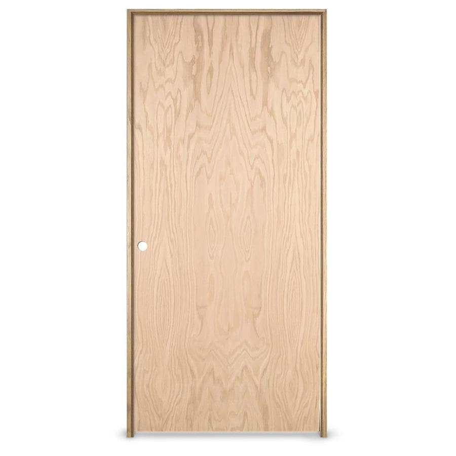 Shop Jeld Wen Flush Oak Single Prehung Interior Door Common 32 In X 80 In Actual X
