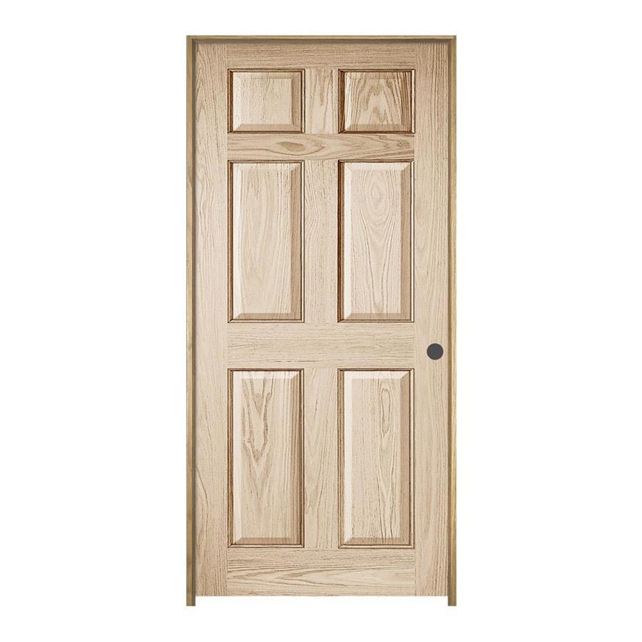 JELD-WEN Prehung Solid Core 6-Panel Oak Interior Door (Common: 30-in x 80-in; Actual: 31.562-in x 81.688-in)