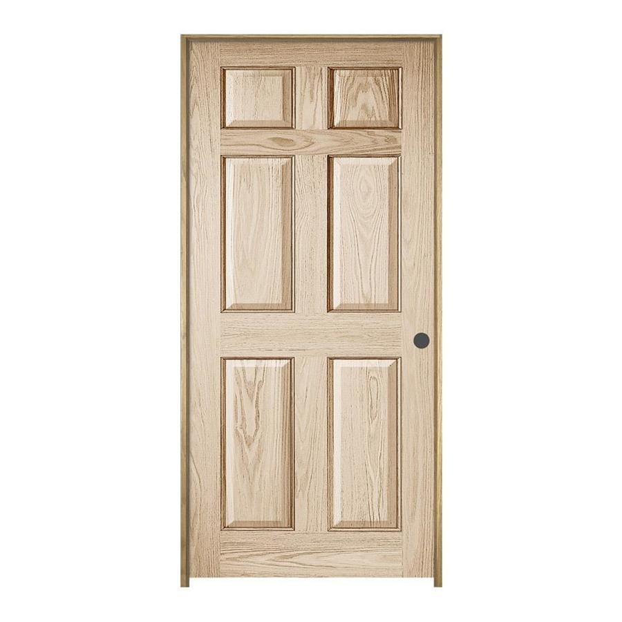 Shop jeld wen colonist solid core oak single prehung for Solid wood doors lowes