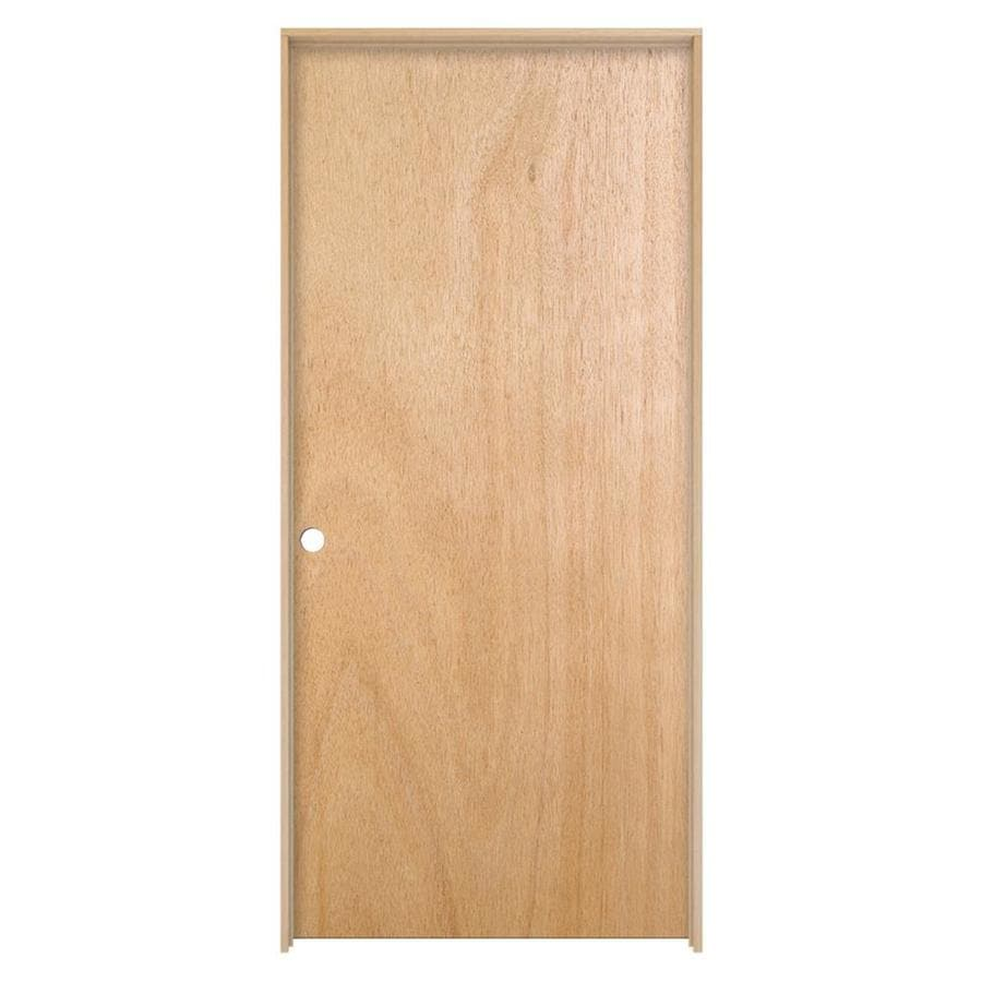 JELD-WEN Prehung Hollow Core Flush Lauan Interior Door (Common: 32-in x 80-in; Actual: 33.562-in x 81.688-in)