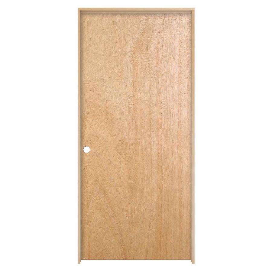 JELD-WEN Prehung Hollow Core Flush Lauan Interior Door (Common: 24-in x 80-in; Actual: 25.562-in x 81.688-in)