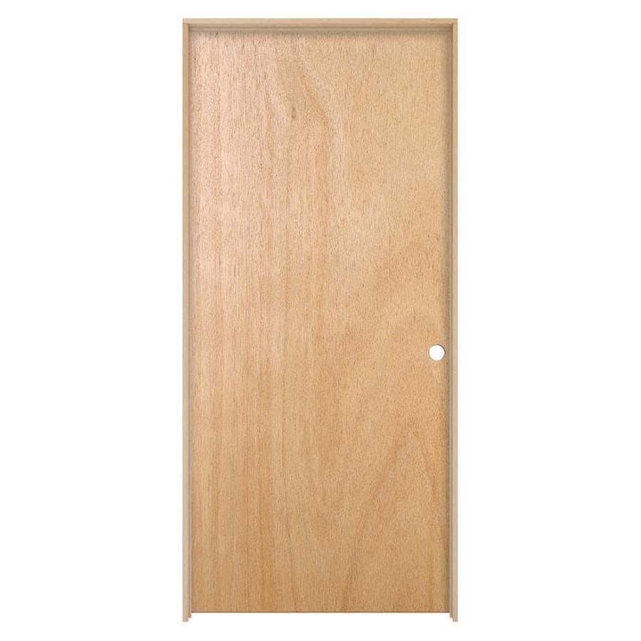 JELD-WEN Prehung Hollow Core Flush Lauan Interior Door (Common: 32-in x 80-in; Actual: 33.562-in x 81.688-in)