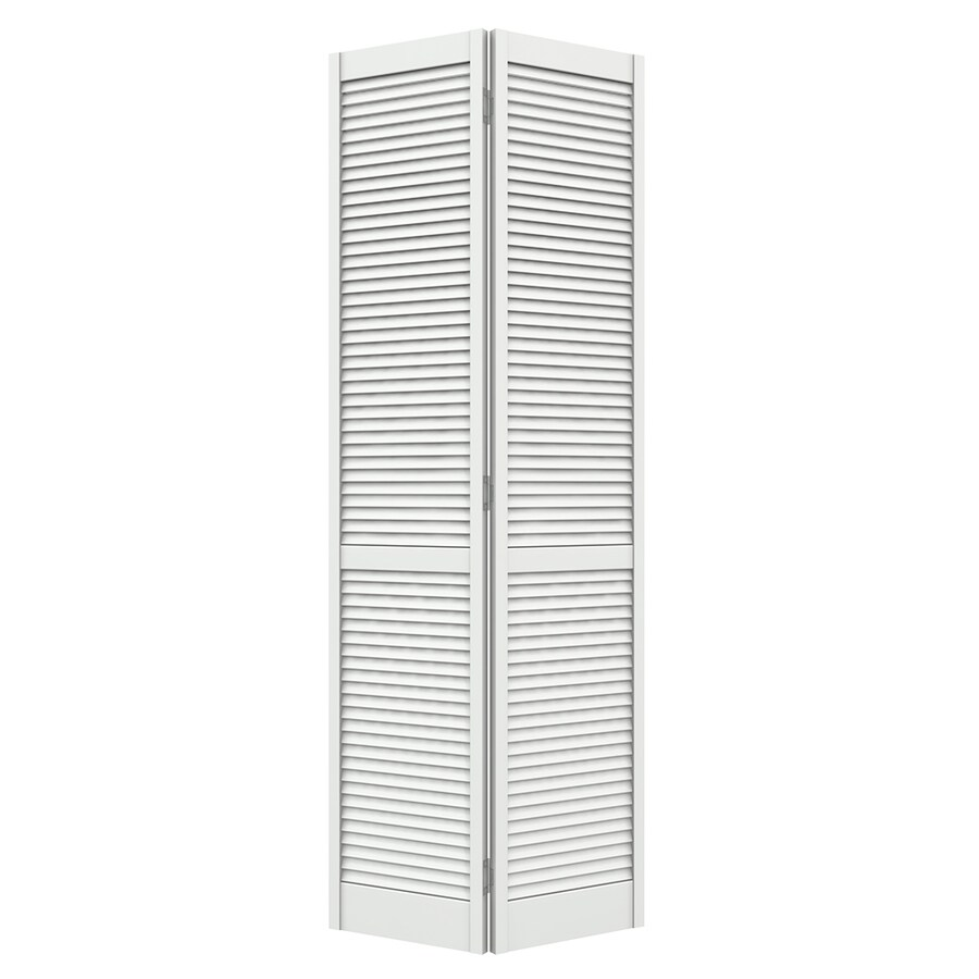 JELD-WEN Louver White Pine Bi-Fold Closet Interior Door with Hardware (Common: 24-in x 80-in; Actual: 23.5000-in x 79-in)