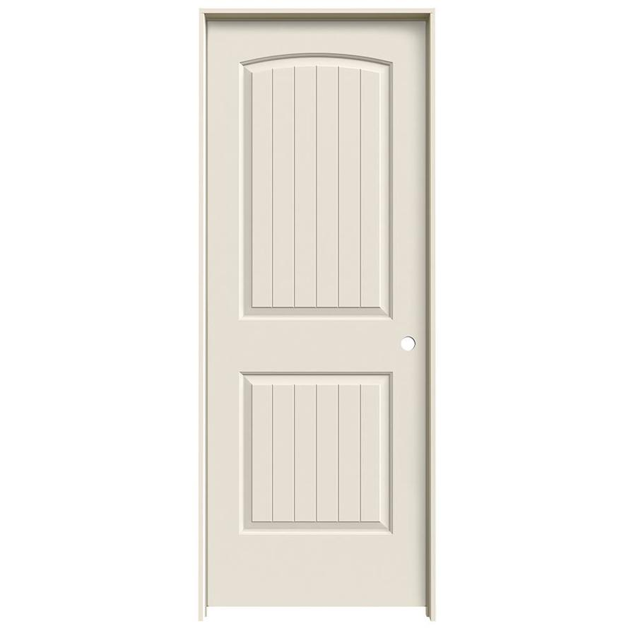 JELD-WEN Prehung Hollow Core 2-Panel Round Top Plank Interior Door (Common: 30-in x 80-in; Actual: 31.562-in x 81.688-in)
