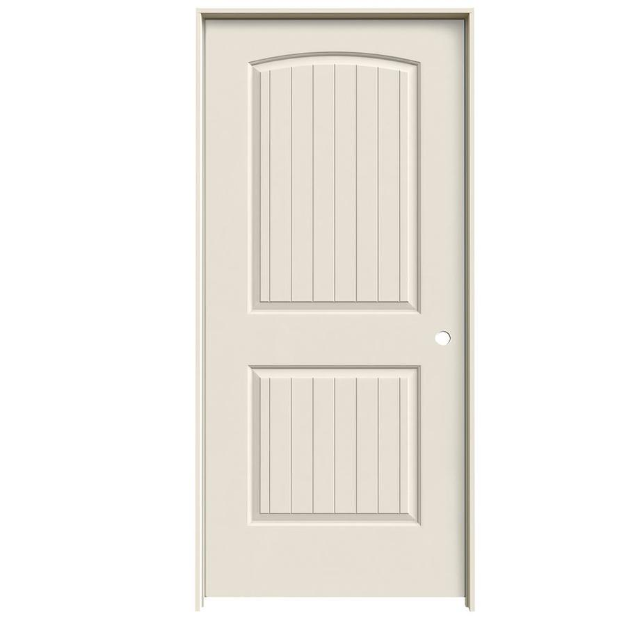 JELD-WEN Prehung Hollow Core 2-Panel Round Top Plank Interior Door (Common: 36-in x 80-in; Actual: 37.5620-in x 81.6880-in)