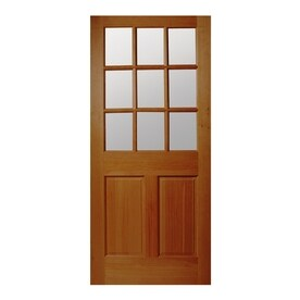JELD WEN Half Lite Simulated Divided Light Universal Reversible Wood Slab  Solid Core Entry Door