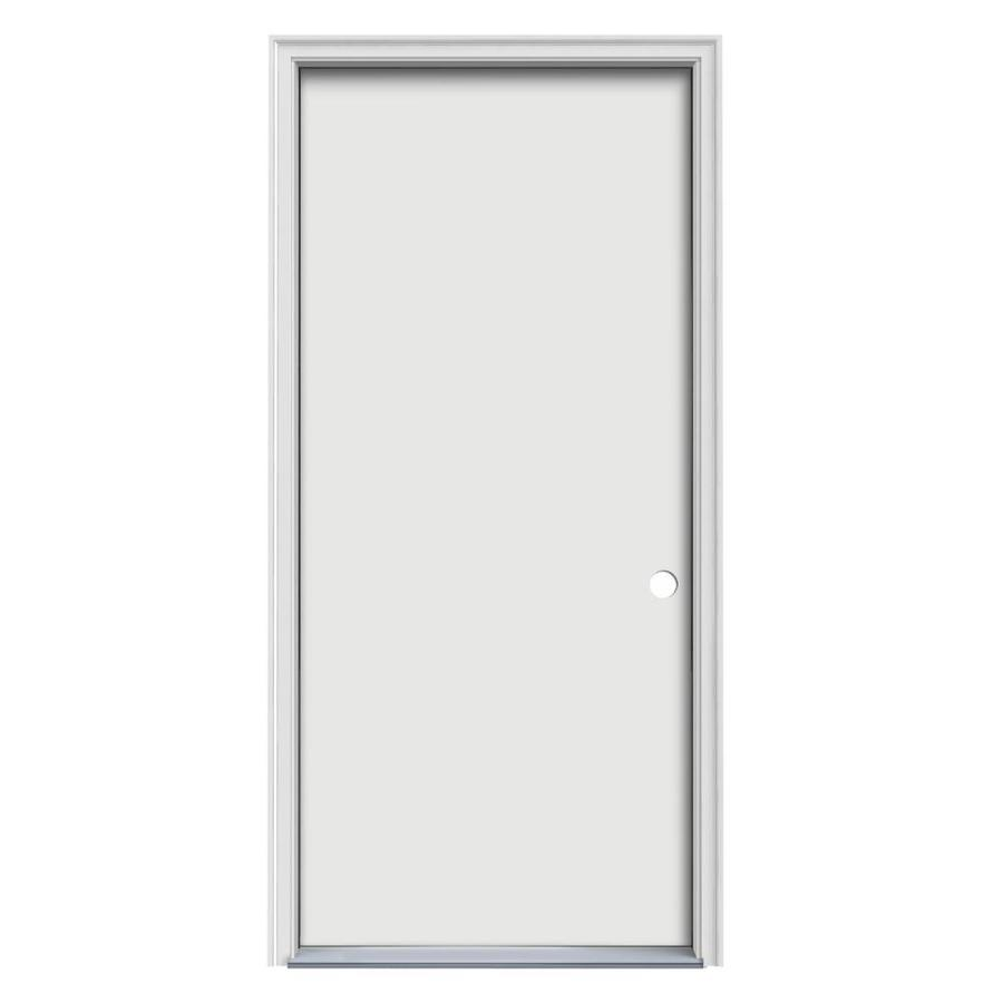 JELD-WEN Flush Insulating Core Left-Hand Inswing Steel Primed Prehung Entry Door (Common: 32-in x 80-in; Actual: 33.5-in x 81.75-in)