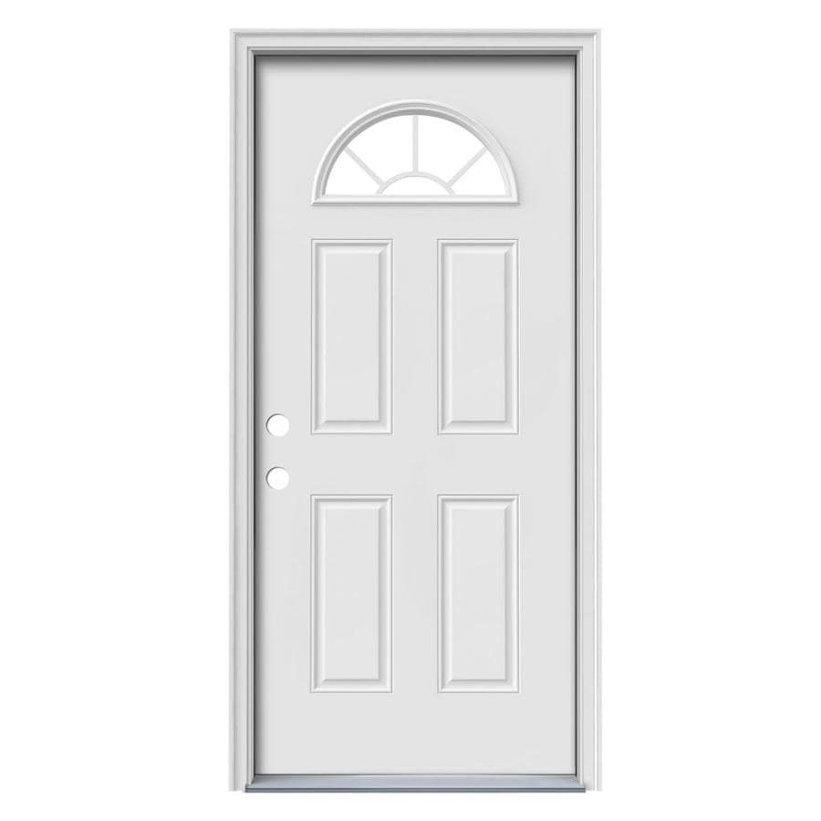 JELD-WEN Sunburst 4-Panel Insulating Core Fan Lite Right-Hand Inswing Steel Primed Prehung Entry Door (Common: 32-in x 80-in; Actual: 33.5-in x 81.75-in)