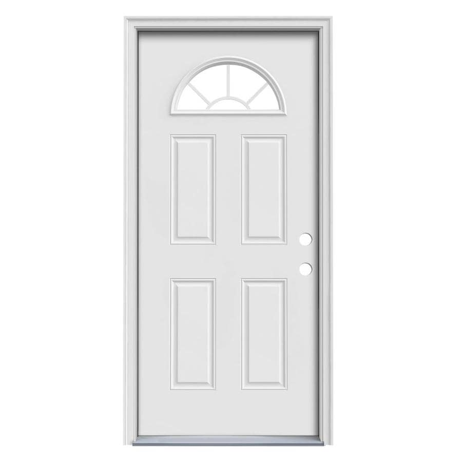 JELD-WEN Sunburst 4-Panel Insulating Core Fan Lite Left-Hand Inswing Steel Primed Prehung Entry Door (Common: 32-in x 80-in; Actual: 33.5-in x 81.75-in)