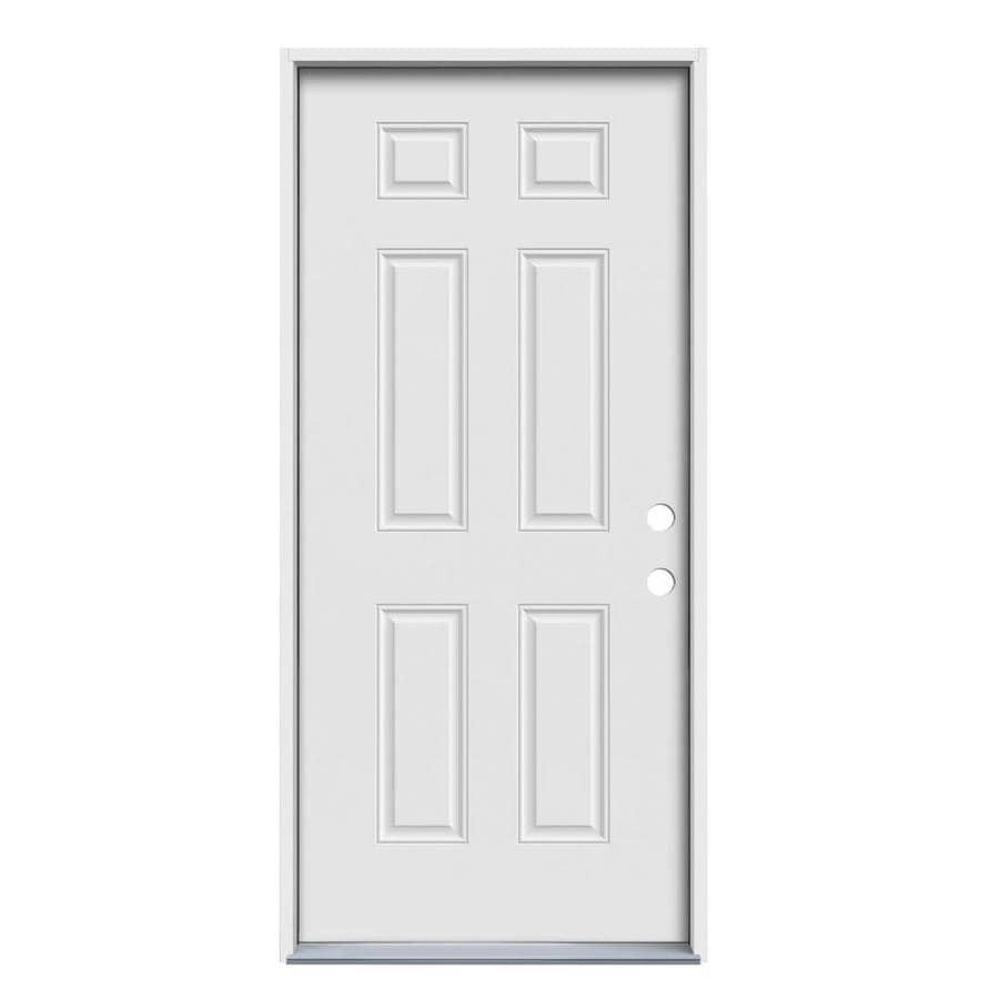 JELD-WEN Left-Hand Inswing Steel Primed Entry Door (Common: 32-in x 80-in; Actual: 33.5000-in x 81.7500-in)
