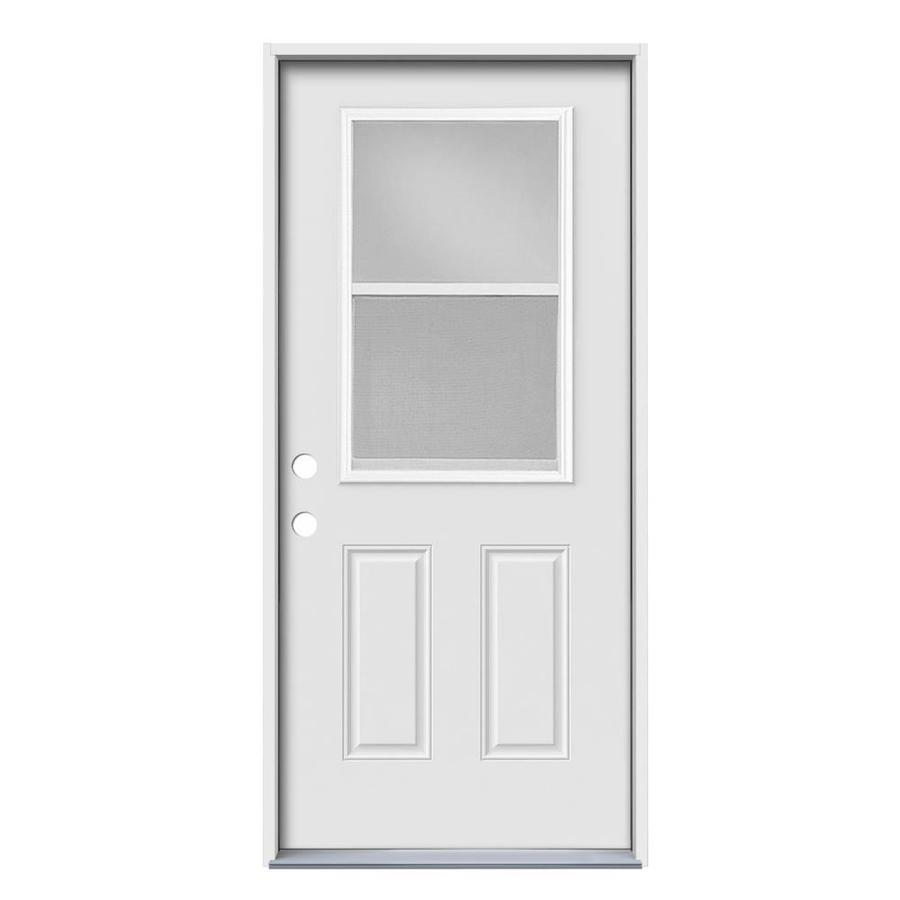 JELD-WEN 2-Panel Insulating Core Vented Glass with Screen Right-Hand Inswing Steel Primed Prehung Entry Door (Common: 32-in x 80-in; Actual: 33.5-in x 81.75-in)