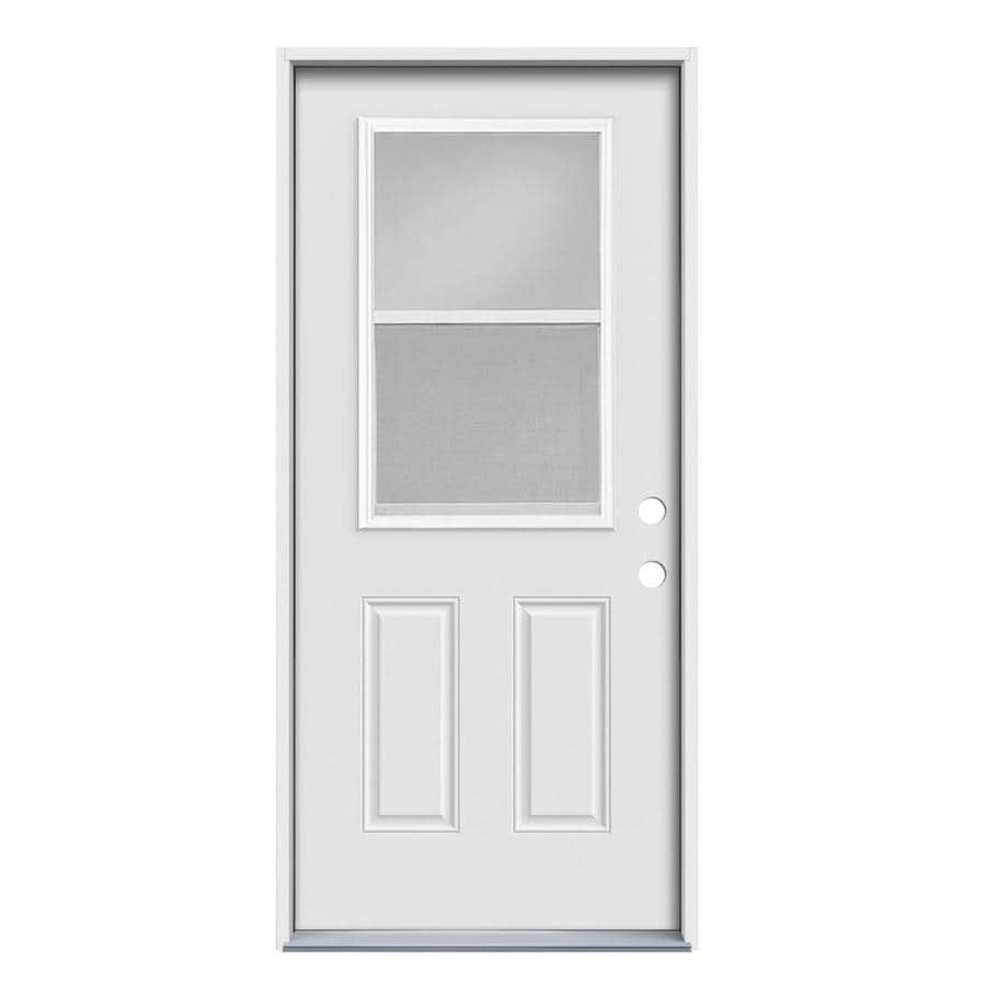 JELD-WEN 2-Panel Insulating Core Vented Glass with Screen Left-Hand Inswing Steel Primed Prehung Entry Door (Common: 36-in x 80-in; Actual: 37.5-in x 81.75-in)