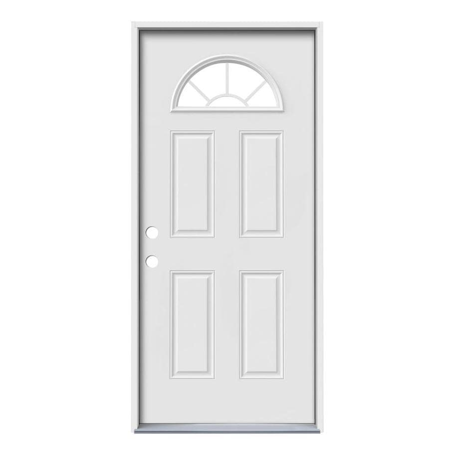 JELD-WEN Sunburst Simulated Divided Light Right-Hand Inswing Primed Steel Prehung Entry Door with Insulating Core (Common: 36-in x 80-in; Actual: 37.5-in x 81.75-in)