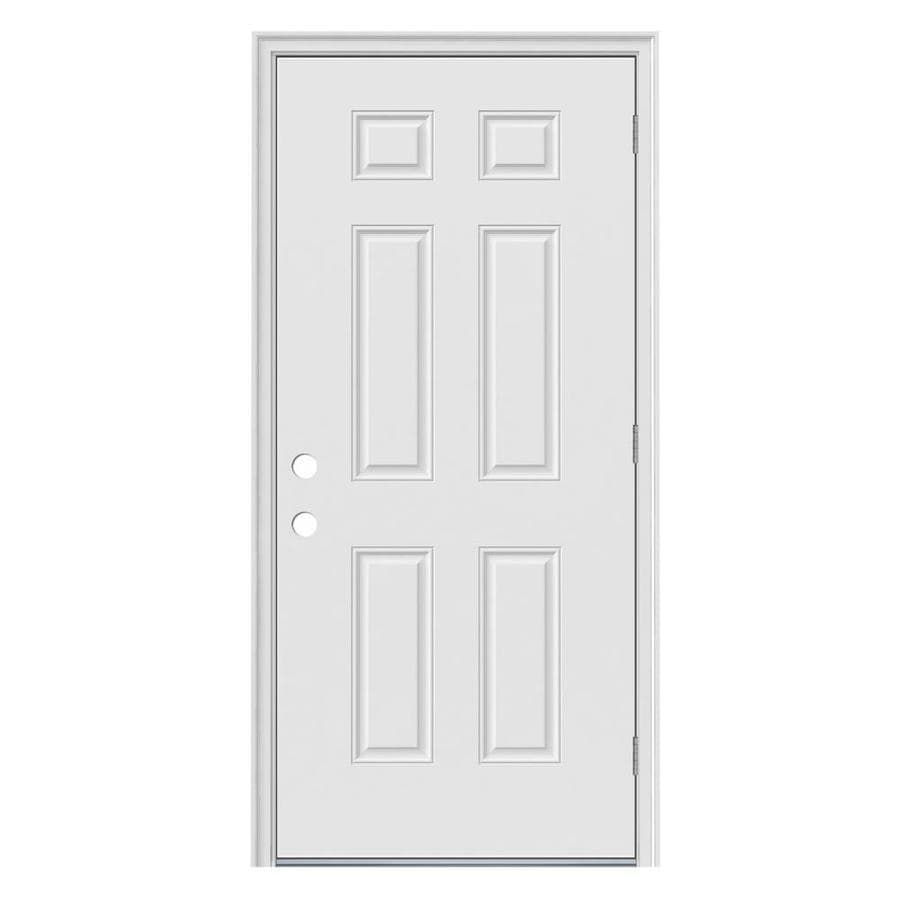 JELD-WEN 6-Panel Insulating Core Left-Hand Outswing Steel Primed Prehung Entry Door (Common: 32-in x 80-in; Actual: 33.5-in x 81.75-in)