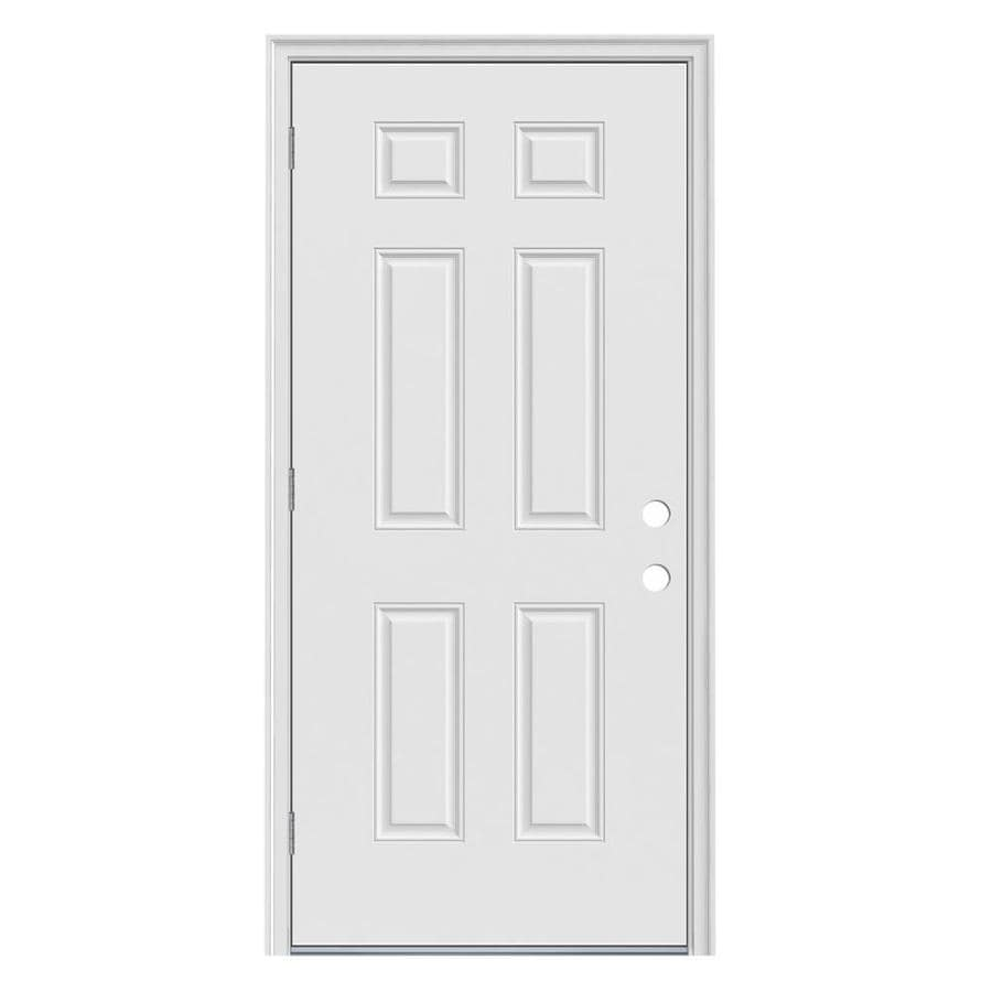 JELD-WEN 6-Panel Insulating Core Right-Hand Outswing Steel Primed Prehung Entry Door (Common: 36-in x 80-in; Actual: 37.5-in x 81.75-in)