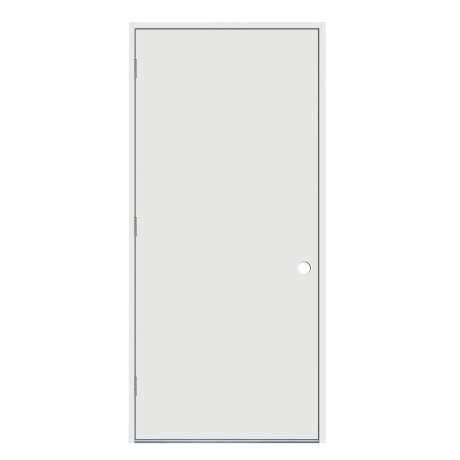 JELD-WEN Flush Insulating Core Right-Hand Outswing Steel Primed Prehung Entry Door (Common: 32-in x 80-in; Actual: 33.5-in x 81.75-in)