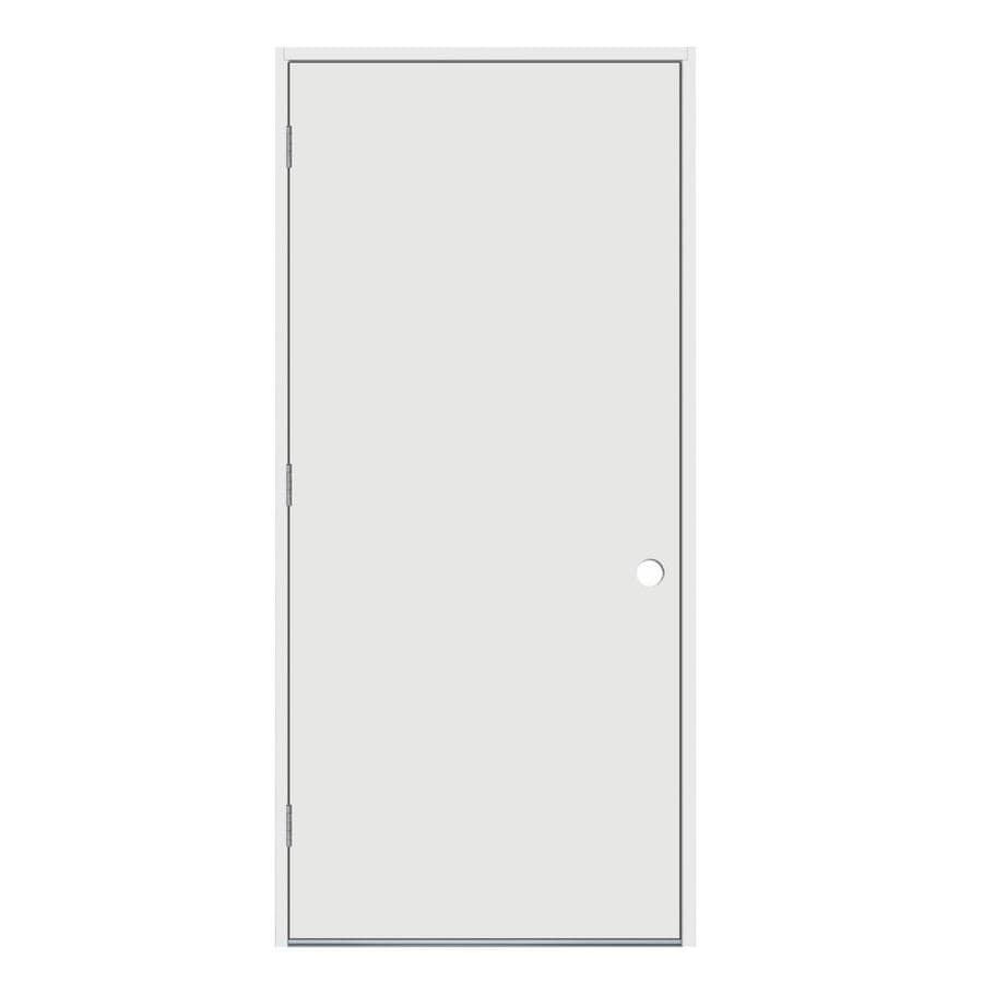 JELD-WEN Flush Insulating Core Right-Hand Outswing Steel Primed Prehung Entry Door (Common: 36-in x 80-in; Actual: 37.5-in x 81.75-in)