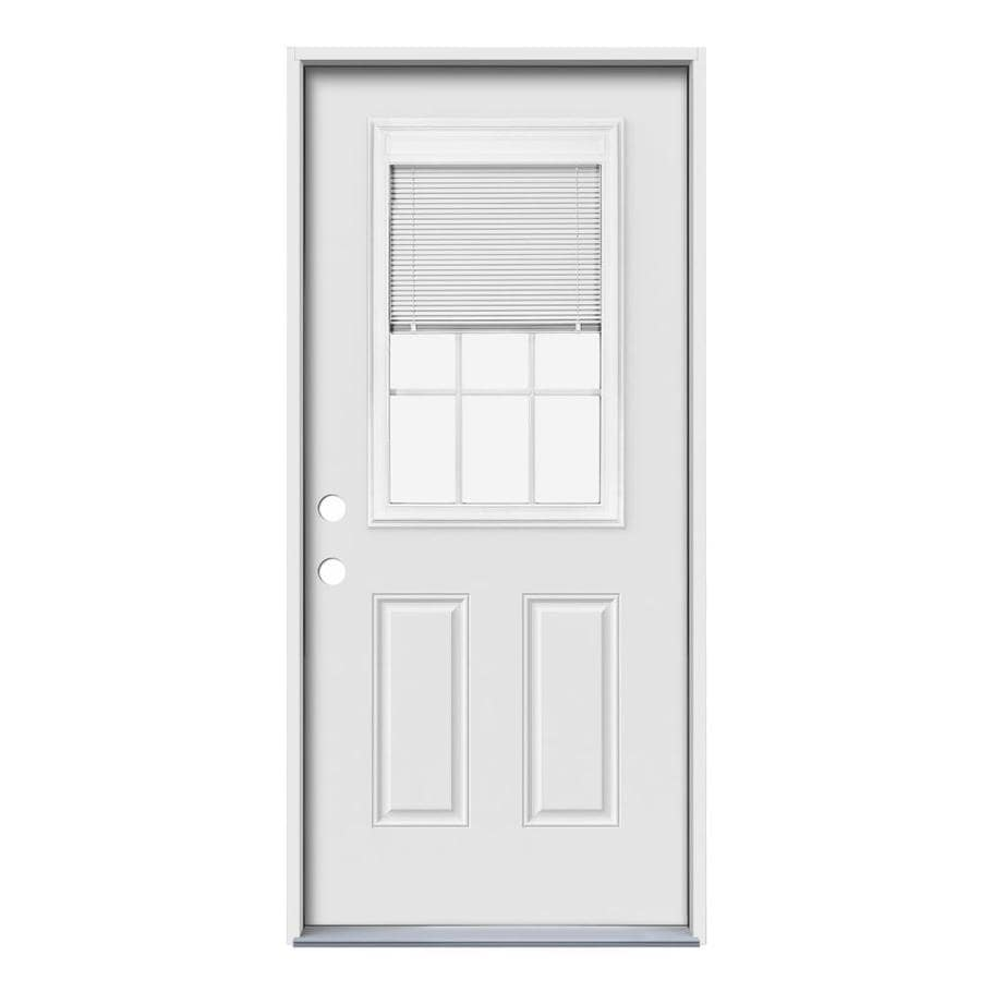 JELD-WEN Blinds and Grilles Between the Glass Right-Hand Inswing Steel Primed Entry Door (Common: 32-in x 80-in; Actual: 33.5000-in x 81.7500-in)