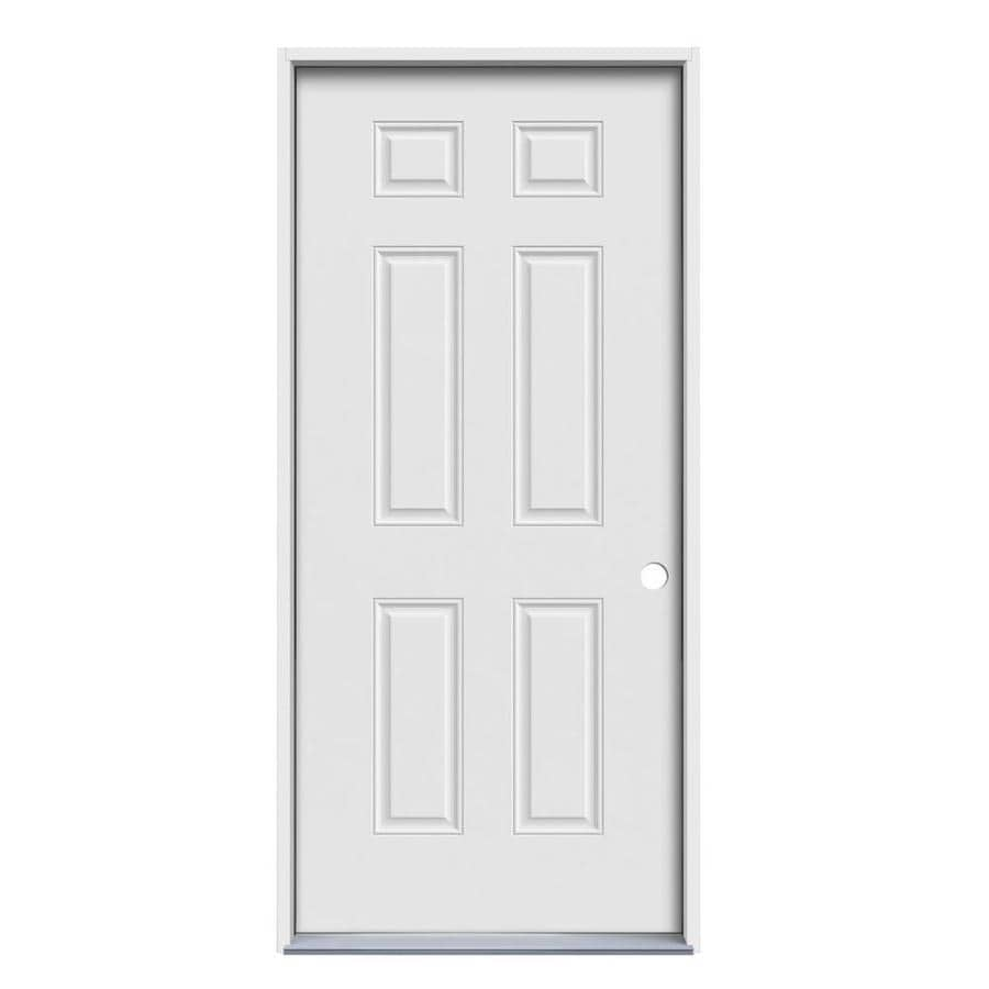 JELD-WEN 6-Panel Insulating Core Left-Hand Inswing Steel Primed Prehung Entry Door (Common: 32-in x 80-in; Actual: 33.5-in x 81.75-in)
