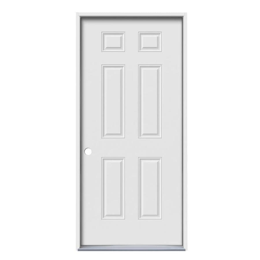 JELD-WEN 6-Panel Insulating Core Right-Hand Inswing Primed Steel Prehung Entry Door (Common: 36-in x 80-in; Actual: 37.5-in x 81.75-in)