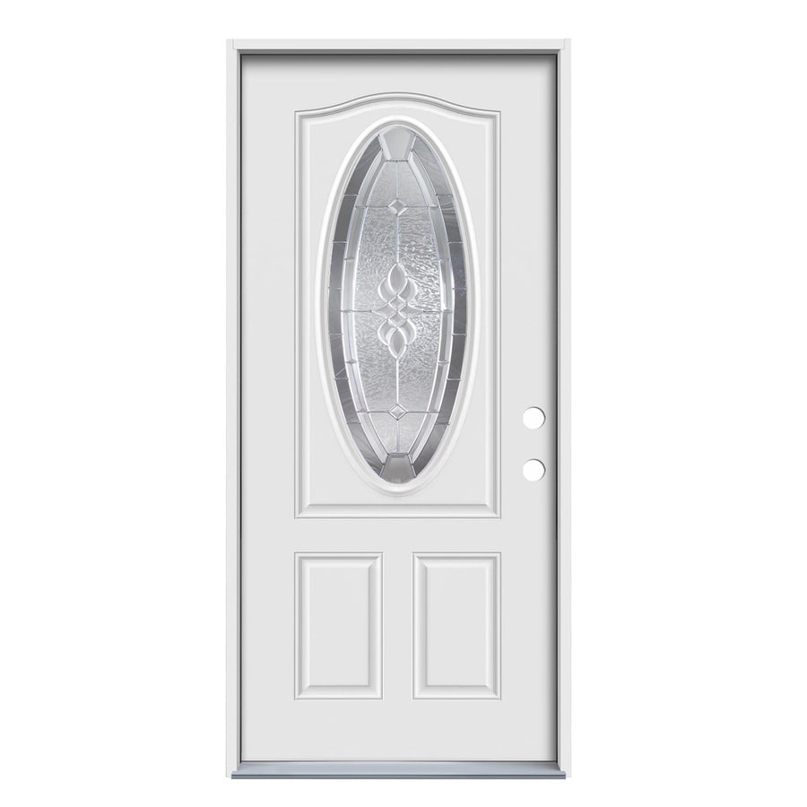 JELD-WEN Hampton Decorative Glass Left-Hand Inswing Primed Steel Prehung Entry Door with Insulating Core (Common: 36-in x 80-in; Actual: 37.5-in x 81.75-in)