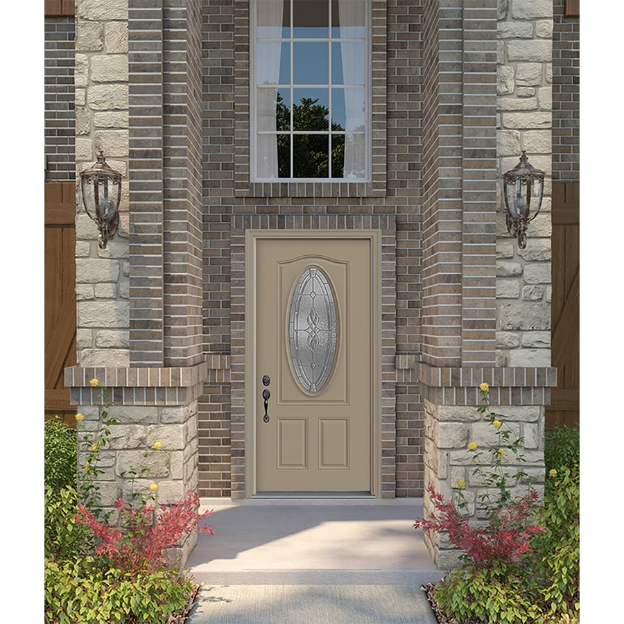 JELD-WEN Hampton Decorative Glass Right-Hand Inswing Steel Primed Entry Door (Common: 36-in x 80-in; Actual: 37.5000-in x 81.7500-in)