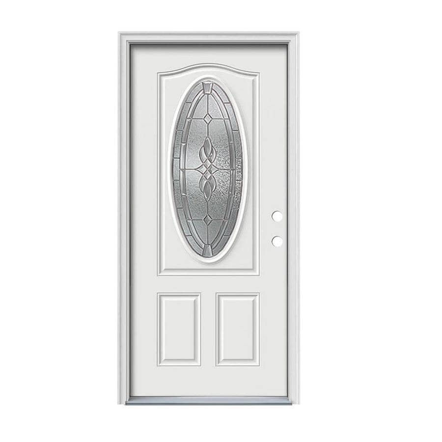 JELD-WEN Hampton 2-Panel Insulating Core Oval Lite Left-Hand Inswing Steel Primed Prehung Entry Door (Common: 32-in x 80-in; Actual: 33.5-in x 81.75-in)