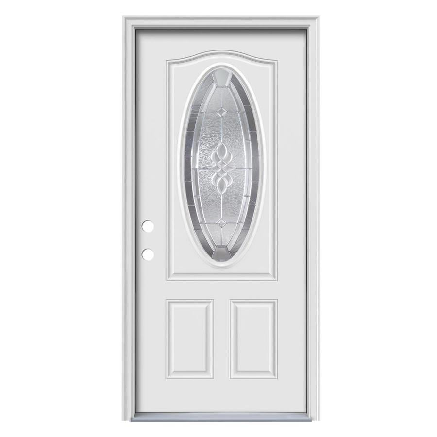 JELD-WEN Hampton Decorative Glass Right-Hand Inswing Primed Steel Prehung Entry Door with Insulating Core (Common: 36-in x 80-in; Actual: 37.5-in x 81.75-in)