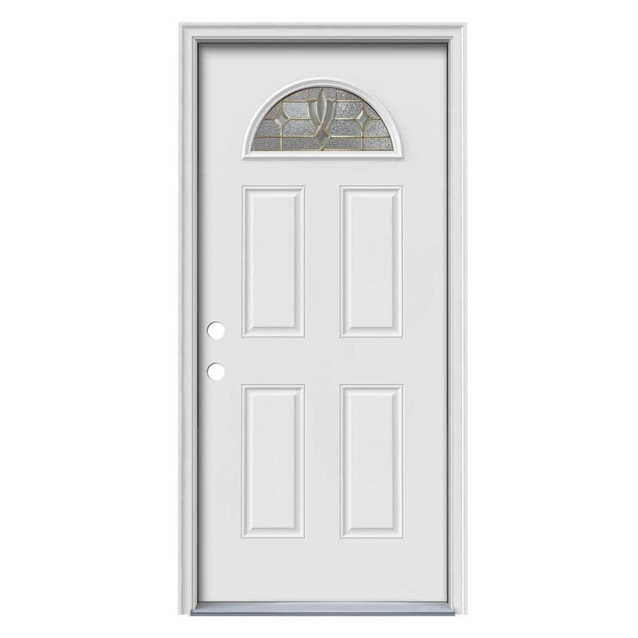 JELD-WEN Laurel 4-Panel Insulating Core Fan Lite Right-Hand Inswing Steel Primed Prehung Entry Door (Common: 36-in x 80-in; Actual: 37.5-in x 81.75-in)
