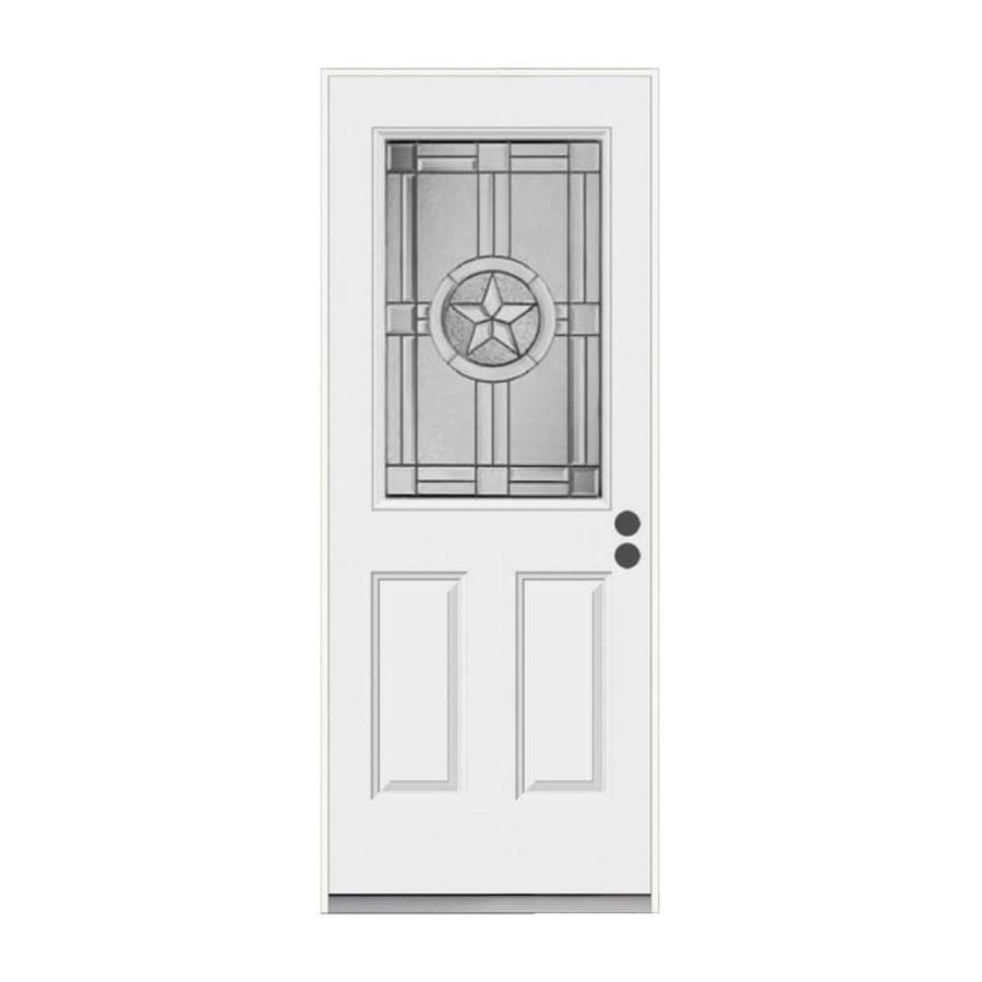 Jeld Wen Radiant Star Half Lite Decorative Gl Left Hand Inswing Primed Steel Prehung Entry Door Solid Core Common 36 In X 80 Actual 37 438