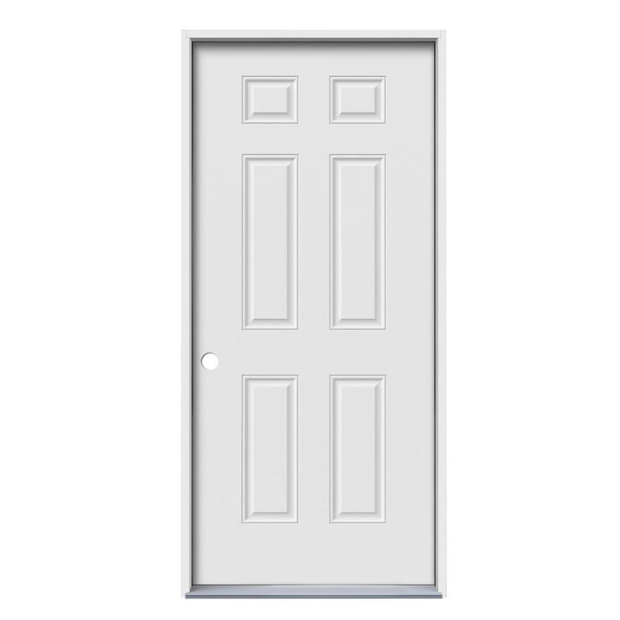 JELD-WEN 6-Panel Insulating Core Right-Hand Inswing Steel Primed Prehung Entry Door (Common: 30-in x 80-in; Actual: 31.5-in x 81.75-in)