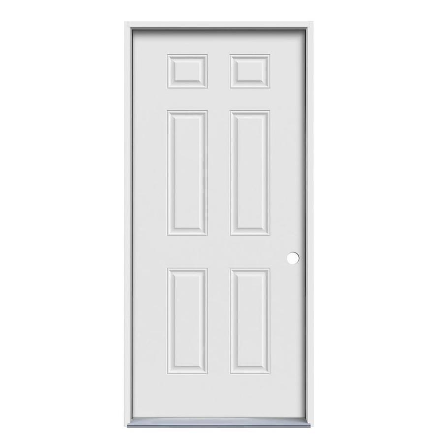 JELD-WEN Left-Hand Inswing Primed Steel Prehung Entry Door with Insulating Core (Common: 30-in x 80-in; Actual: 31.5000-in x 81.7500-in)