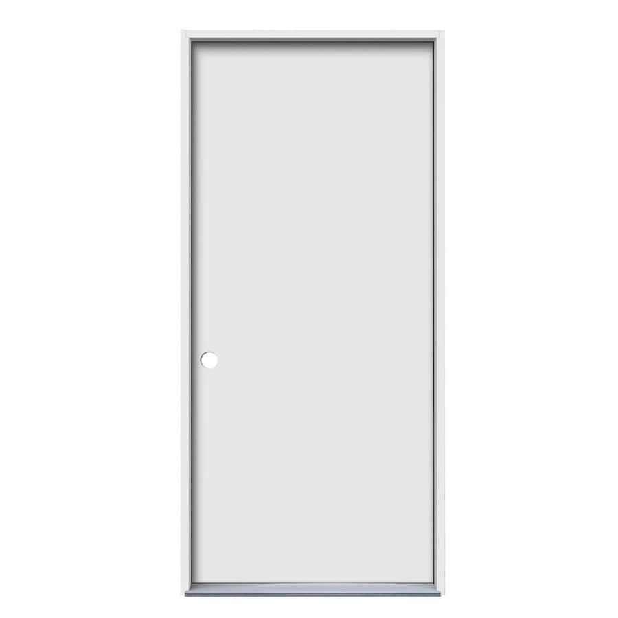 JELD-WEN Flush Insulating Core Right-Hand Inswing Steel Primed Prehung Entry Door (Common: 32-in x 80-in; Actual: 33.5-in x 81.75-in)