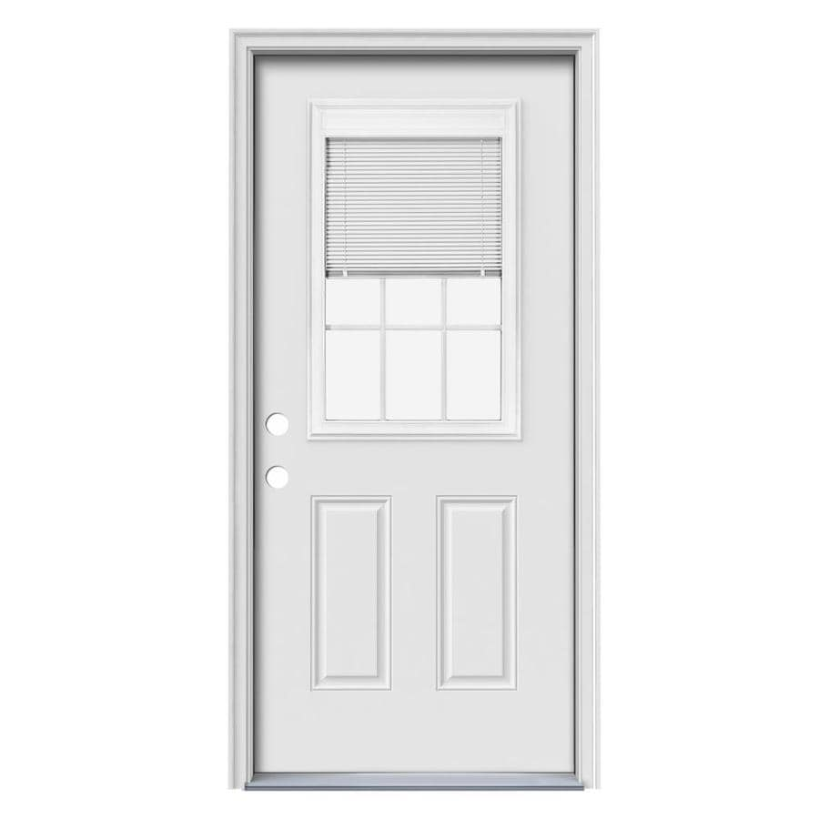 JELD-WEN Blinds and Grilles Between the Glass Right-Hand Inswing Primed Steel Prehung Entry Door with Insulating Core (Common: 36-in x 80-in; Actual: 37.5-in x 81.75-in)